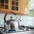 Kettle boiling on a gas stove in the kitchen focus spout Stock Images