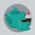Kettle cupcake and cup of tea or coffee vector illustration Royalty Free Stock Photos