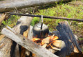 Kettle on the fire making coffee in a hike in woods Royalty Free Stock Photo