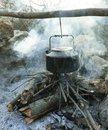 Kettle old in camping Royalty Free Stock Image