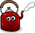 Kettle and steam cartoon illustration Stock Photos