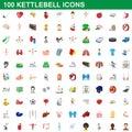 100 kettlebell icons set, cartoon style