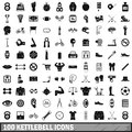 100 kettlebell icons set, simple style