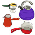 Kettles hand drawn illustration of a collection of kitchen group of colored objects isolated on white Stock Photography