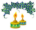 Ketupat candle for eid mubarak Royalty Free Stock Images