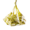 Ketupat or packed rice dumpling traditional malay ramadan food popular malaysian food isolated on white background Royalty Free Stock Image