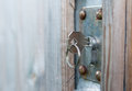 Keu in rusted Door Lock Royalty Free Stock Photo