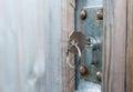 Keu in rusted Door Lock Royalty Free Stock Photo
