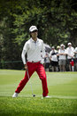 Kevin na clubbing the ball up the fairway heading to the green on the th day of the tournament sun city gary player golf course Royalty Free Stock Photography