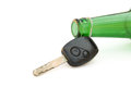 Key and beer bottle with clipping path drunk driving conceptual Stock Images
