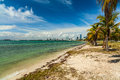 Key biscayne beach pretty along the rickenbacker causeway in in miami Stock Image