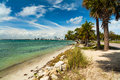 Key biscayne beach pretty along the rickenbacker causeway in in miami Royalty Free Stock Photos