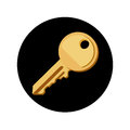 Key on black button flat design vector icon Stock Images