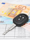Key from the car money for documents Stock Image
