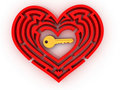 Key in the center of labyrinth in form of heart Royalty Free Stock Photo