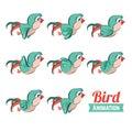Key frames animation of bird flying. Cartoon zoo vector illustration