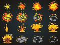 Key frames of bomb cartoon explosion animation. Bang top and front view vector illustration.