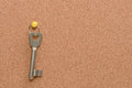 Key hang on cork board Royalty Free Stock Photo