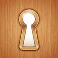 Key hole in a wooden door Royalty Free Stock Photography