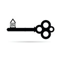 Key with home sweet home vector black Royalty Free Stock Photo
