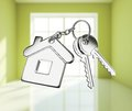 Key with keychain on white rooms Stock Image