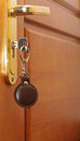 Key in keyhole with blank tag Royalty Free Stock Image