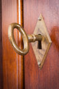 Key in a keyhole close up shot of inside Stock Image