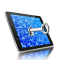 Key in keyhole on tablet,tablet  illustration Stock Photography