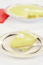 Key lime pie fork plate Royalty Free Stock Photo