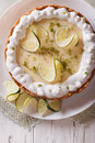 Key lime pie with whipped cream close-up. vertical top view Royalty Free Stock Photo