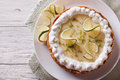 Key lime pie with whipped cream. Horizontal top view Royalty Free Stock Photo