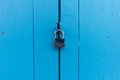 Key lock and blue wooden door Royalty Free Stock Photo