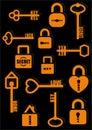 Key and Lock. Secret. Love. Home. Icon set. Vector illustration