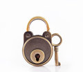Key and lock old copper with copper isolated on white background Royalty Free Stock Images