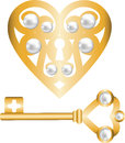 Key and lock shaped heart Royalty Free Stock Photo