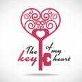 The key of my heart pink heart key vector design Royalty Free Stock Photos