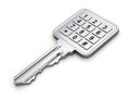 Key with numeric keypad door on white background d concept Royalty Free Stock Photos