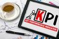 Key performance indicator concept hand drawing on tablet pc Royalty Free Stock Images