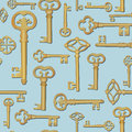 Key seamless background vintage collection retro pattern lucky retro wallaper Stock Image