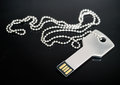 Key shaped usb drive macro image of a in concept of technology security Royalty Free Stock Photos