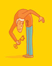Key to happiness inside cartoon illustration of a man opening his secrets with a Stock Images