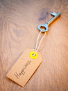 Key to happiness old on a string with retro brown paper luggage tag reading on an aged woodgrain background secret successful life Royalty Free Stock Photos