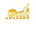 Key to success business chart business success golden and histogram bar graph symbol Stock Image