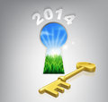 Key to your future concept the of a keyhole with a new dawn over verdant landscape and gold Stock Photography