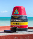Key west southernmost point marker on florida usa Stock Photos