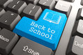 Keyboard with back to school button blue scholol on computer education concept Royalty Free Stock Photography