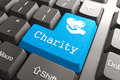 Keyboard with charity button blue on computer social concept Stock Photos