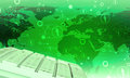 Keyboard on green world map background Royalty Free Stock Photo