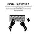 Keyboard Hand Type Black White Silhouette Vector Royalty Free Stock Photo