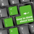 Keyboard key with time to think about love text Royalty Free Stock Photo
